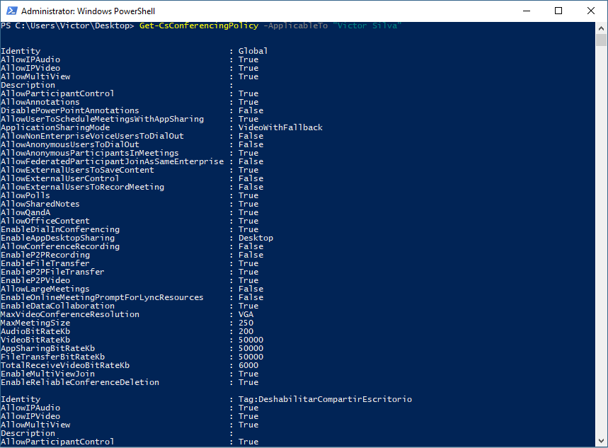 Comprobar política de Skype for Business Online con PowerShell